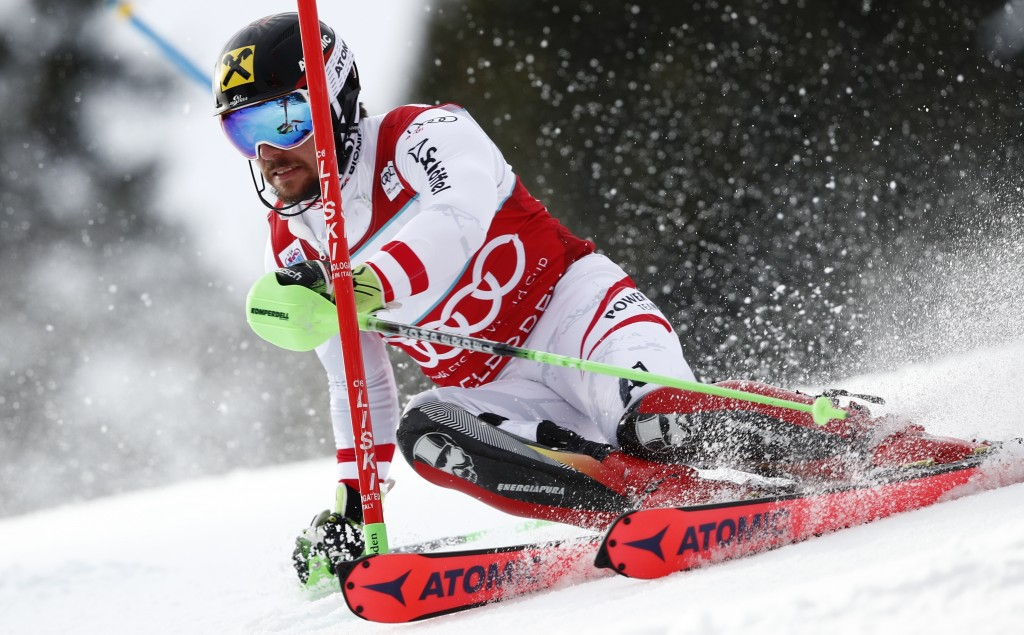 Austria's Marcel Hirscher competes during an alpine ski, men's World Cup slalom in Adelboden, Switzerland, Sunday Jan. 7, 2018. (AP Photo/Gabriele Fac