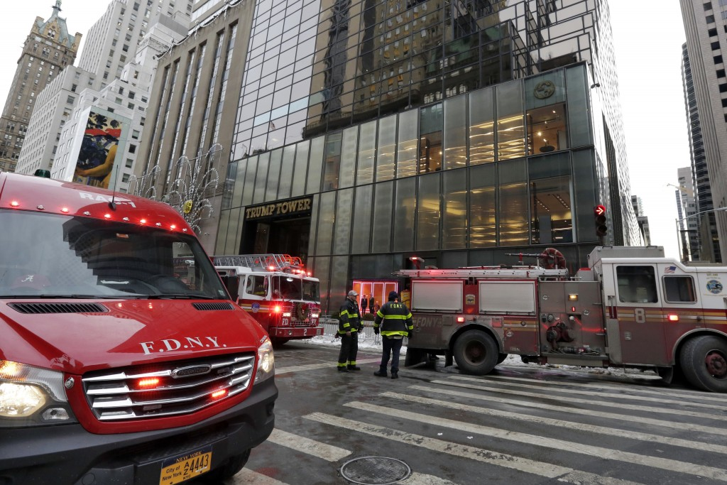 3 injured in fire atop NY's Trump Tower