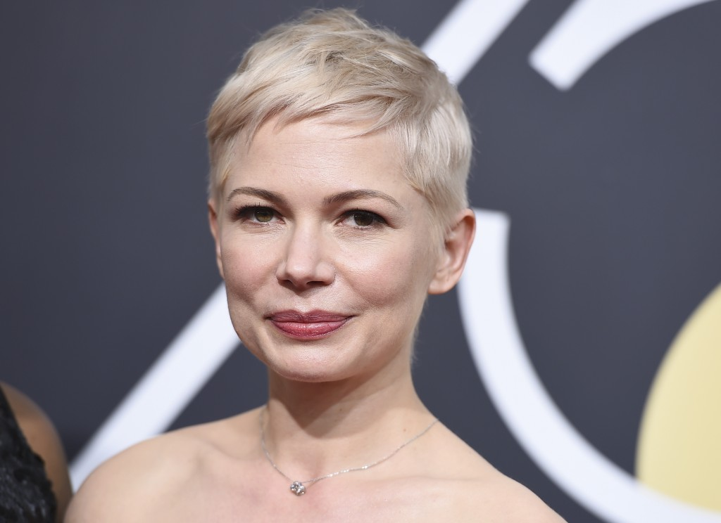 Michelle Williams arrives at the 75th annual Golden Globe Awards at the Beverly Hilton Hotel on Sunday, Jan. 7, 2018, in Beverly Hills, Calif. (Photo