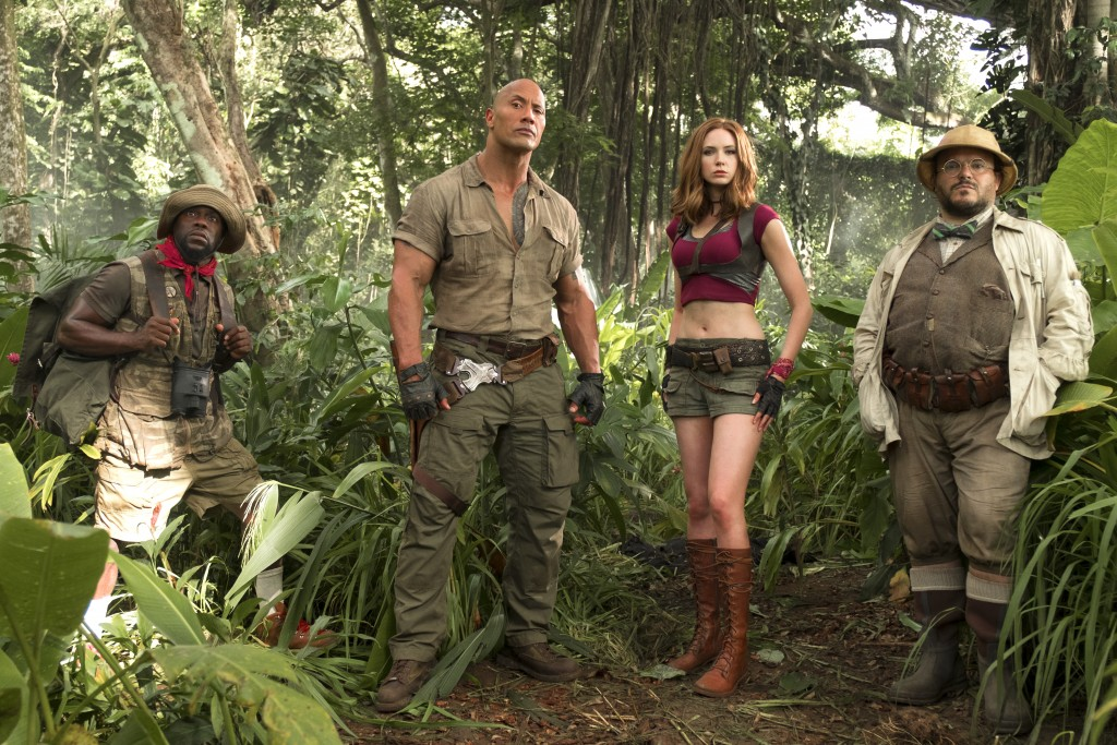 "FILE - This file image released by Sony Pictures shows Kevin Hart, from left, Dwayne Johnson, Karen Gillan and Jack Black in ""Jumanji: Welcome to the"