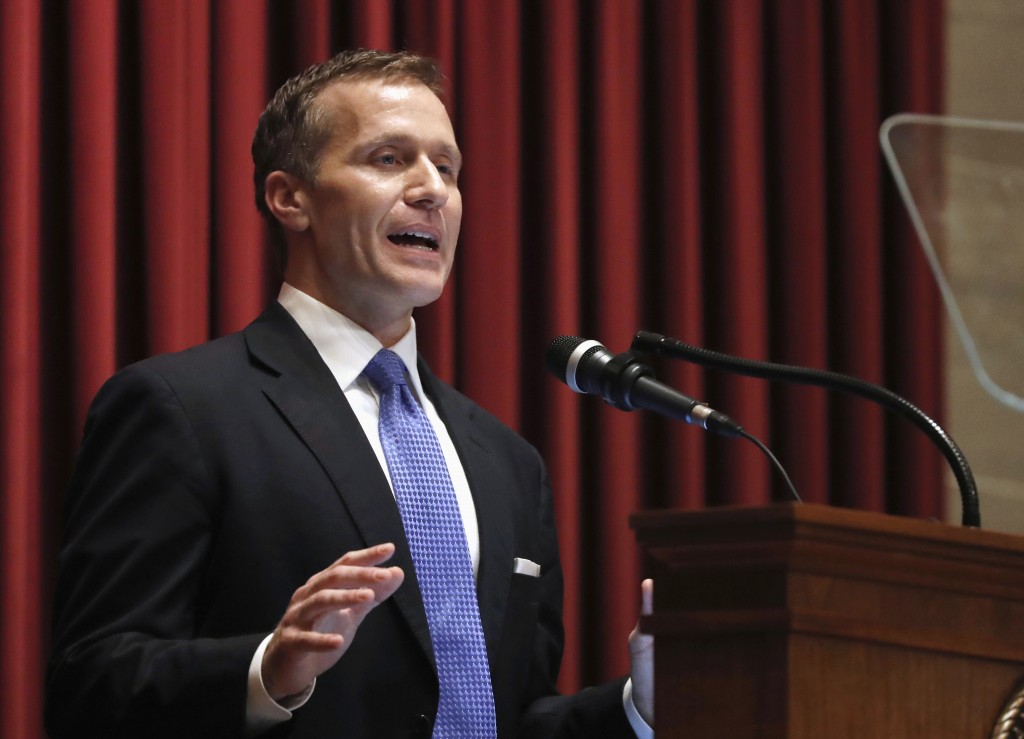 FILE - In this Jan. 10, 2018, file photo, Missouri Gov. Eric Greitens delivers the annual State of the State address to a joint session of the House a