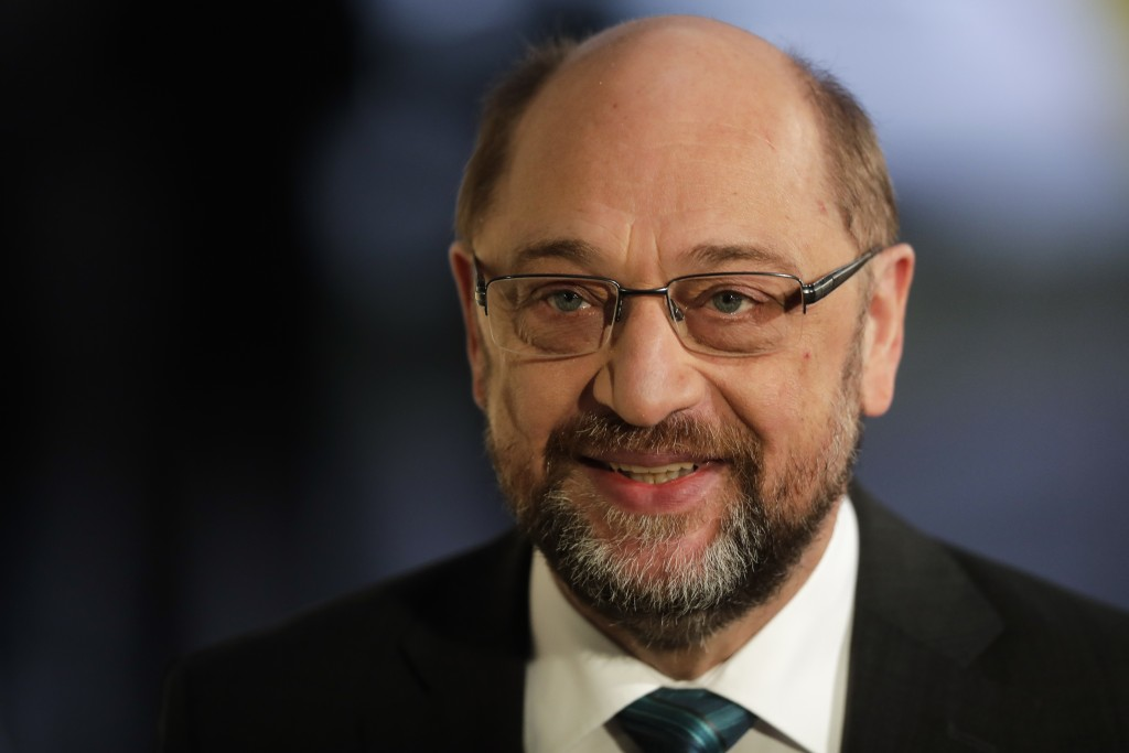 Social Democratic Party, SPD, chairman Martin Schulz arrives for a statement prior to exploratory talks about a new German government between German C