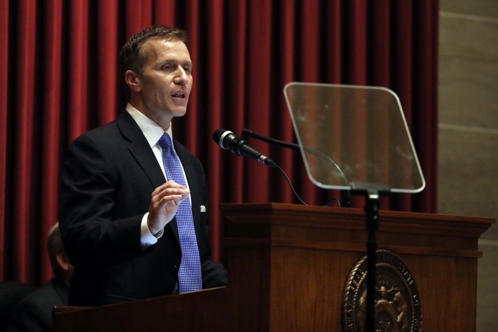 Missouri Gov. Eric Greitens delivers the annual State of the State address to a joint session of the House and Senate, Wednesday, Jan. 10, 2018, in Je
