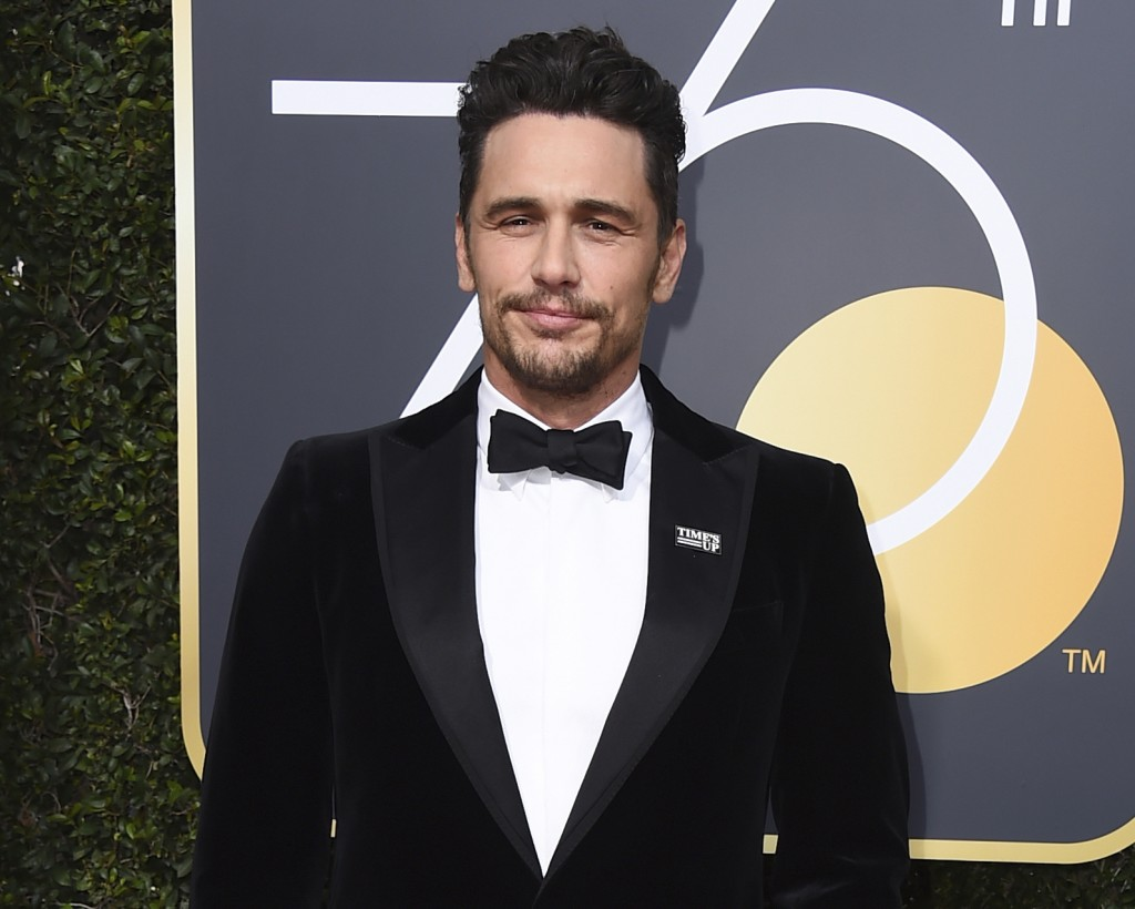 FILE - In this Jan. 7, 2018 file photo, James Franco arrives at the 75th annual Golden Globe Awards in Beverly Hills, Calif. Facing accusations by an