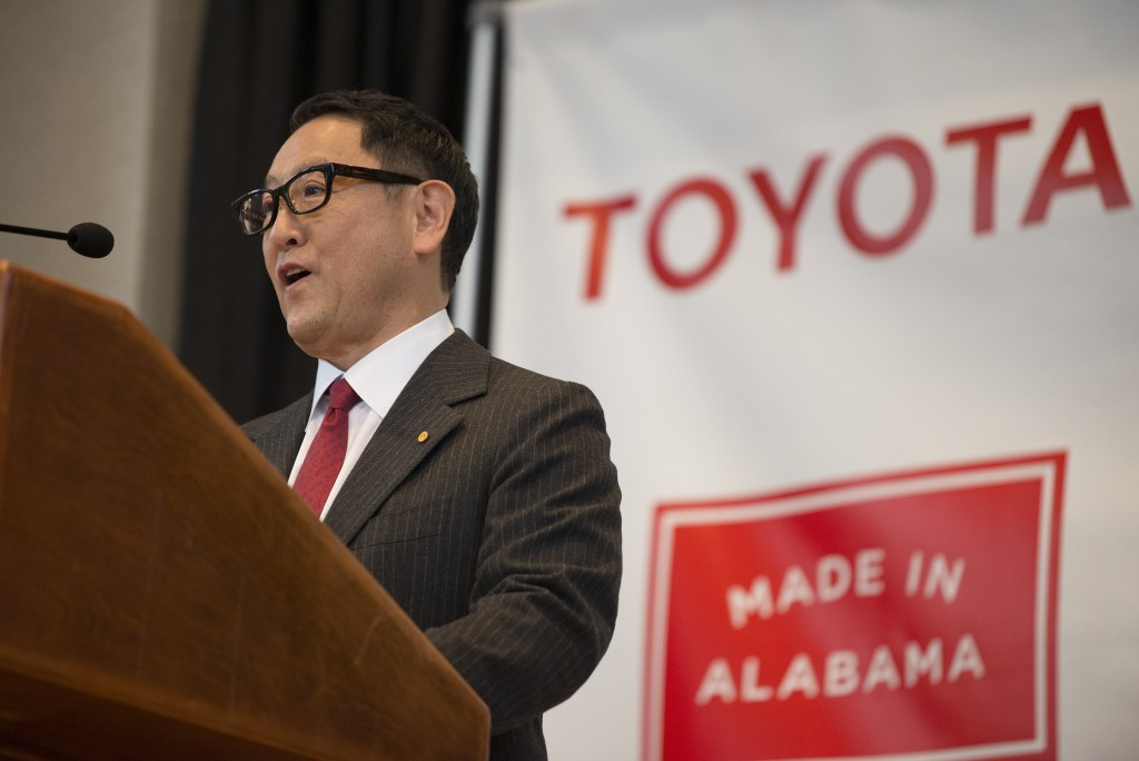 Akio Toyoda, Toyota Motor Corp. president, speaks during a press conference, Wednesday, Jan. 10, 2018, in Montgomery, Ala., where the Japanese automak