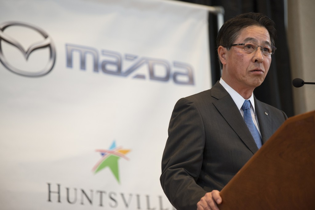 Masamichi Kogai, Mazda Motor Corp. president and CEO, speaks during a press conference, Wednesday, Jan. 10, 2018, in Montgomery, Ala., where the Japan