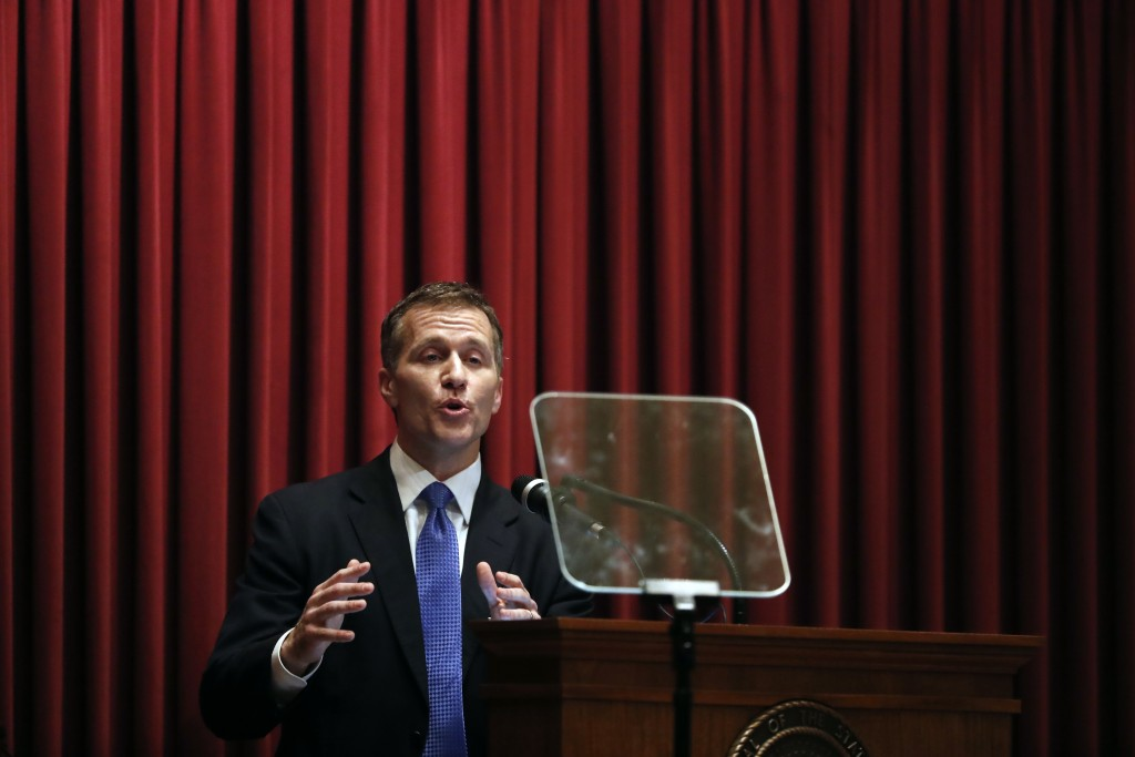 FILE - In this Wednesday, Jan. 10, 2018 file photo, Missouri Gov. Eric Greitens delivers the annual State of the State address to a joint session of t