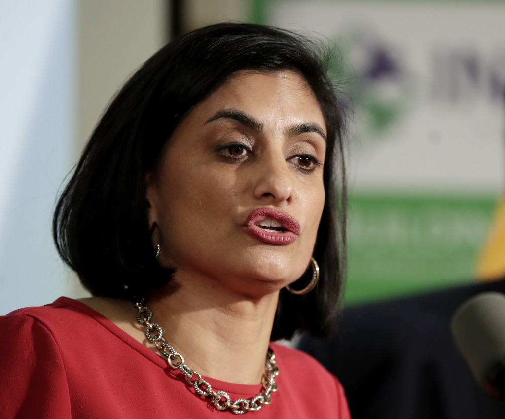 FILE - In this Nov. 29, 2017 file photo, Seema Verma, administrator of the Centers for Medicare and Medicaid Services, speaks during a news conference
