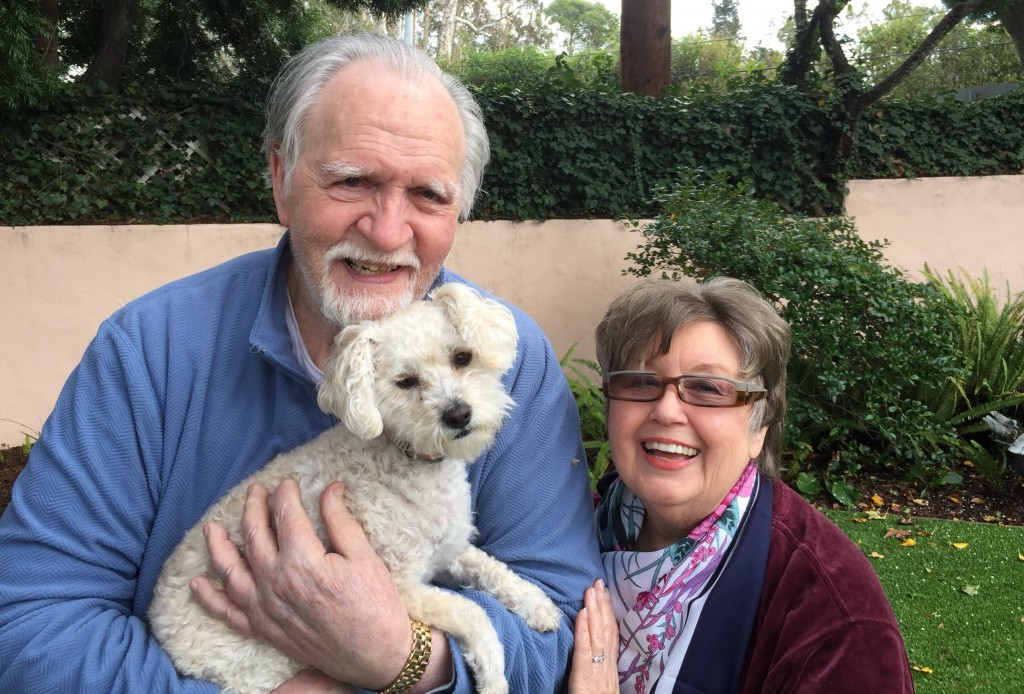 This January 2017, photo provided by Kelly Weimer, shows Jim Mitchell, 89, with his wife, Alice Mitchell, 78, and their dog, Gigi. The Mitchell's and