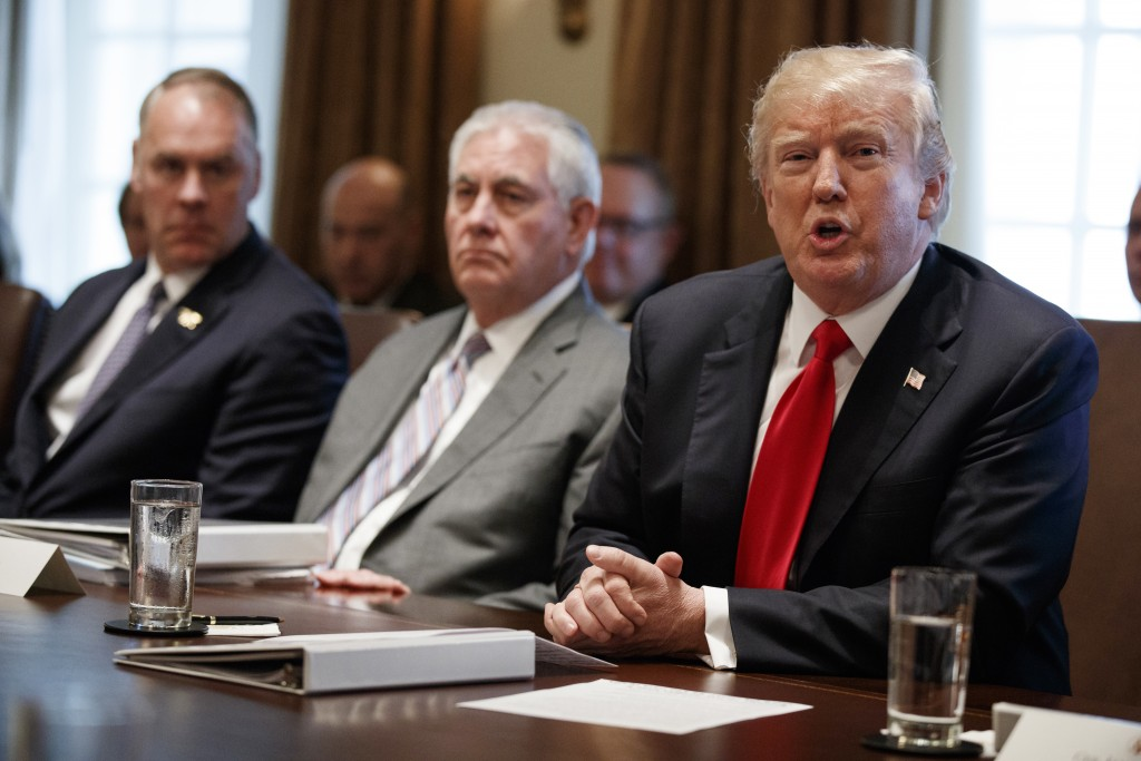 President Donald Trump speaks during a cabinet meeting at the White House, Wednesday, Jan. 10, 2018, in Washington. From left, Secretary of Interior R