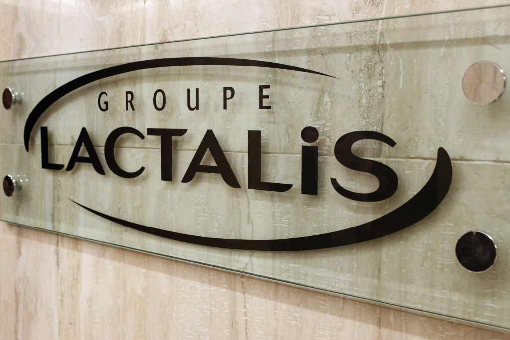 The logo of Groupe Lactalis is seen as Head of Communication & External Relations, Michel Nalet attends a press conference in Paris, Thursday, Jan. 11