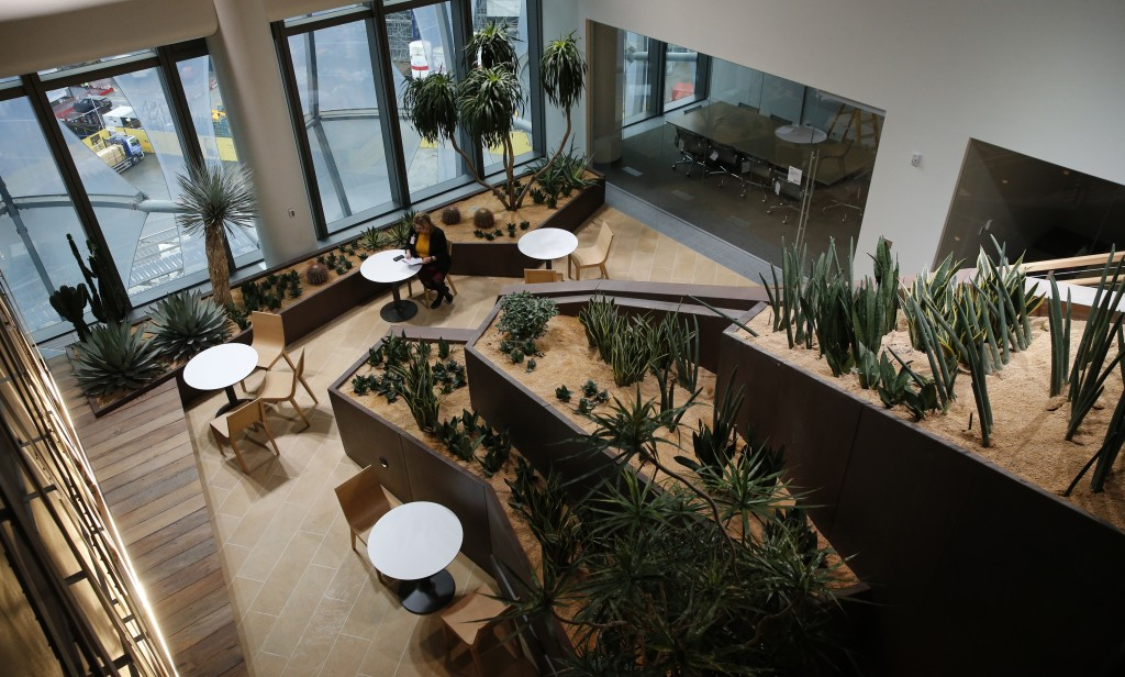 FILE -  This Wednesday, Dec. 13, 2017 file photo shows the Canyon garden at the new United States embassy building during a press preview near the Riv