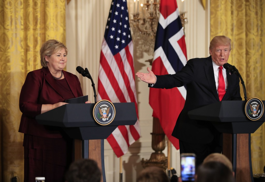 FILE - In this Wednesday, Jan. 10, 2018 file photo, US President Donald Trump speaks during a joint news conference with Norwegian Prime Minister Erna