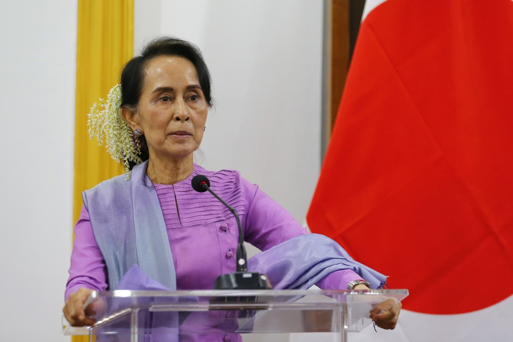 Myanmar's State Counselor and Foreign Minister Aung San Suu Kyi speaks to the media during a joint press conference with Japanese Foreign Minister, Ta