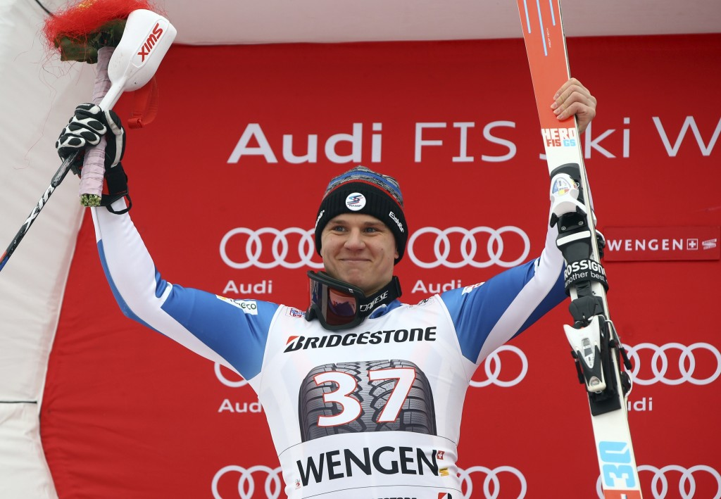 Russia's Pavel Trikhichev celebrates his second place in an alpine ski, men's World Cup combined race, in Wengen, Switzerland, Friday, Jan.12, 2018. (