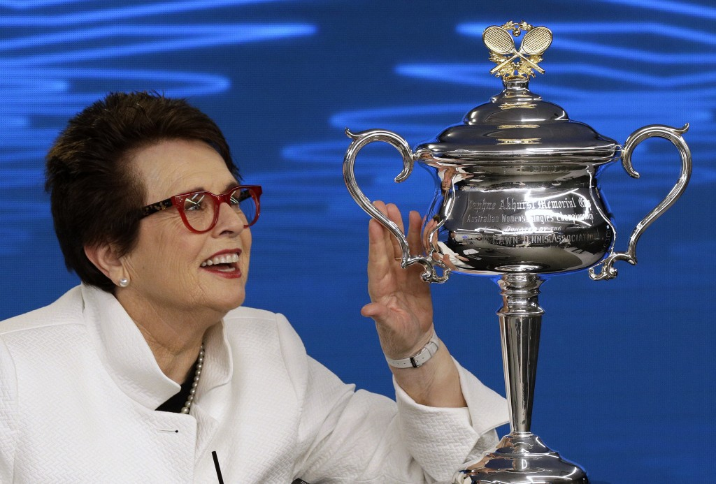 Billie Jean King, former ladies singles champion holds the Daphne Akhurst Memorial Cup during a press conference ahead of the Australian Open tennis c