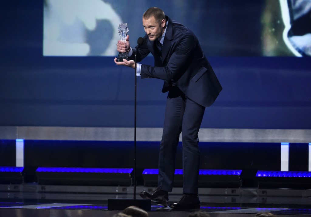 "Alexander Skarsgard accepts the award for best supporting actor in a movie made for tv or limited series for ""Big Little Lies"" at the 23rd annual Crit"