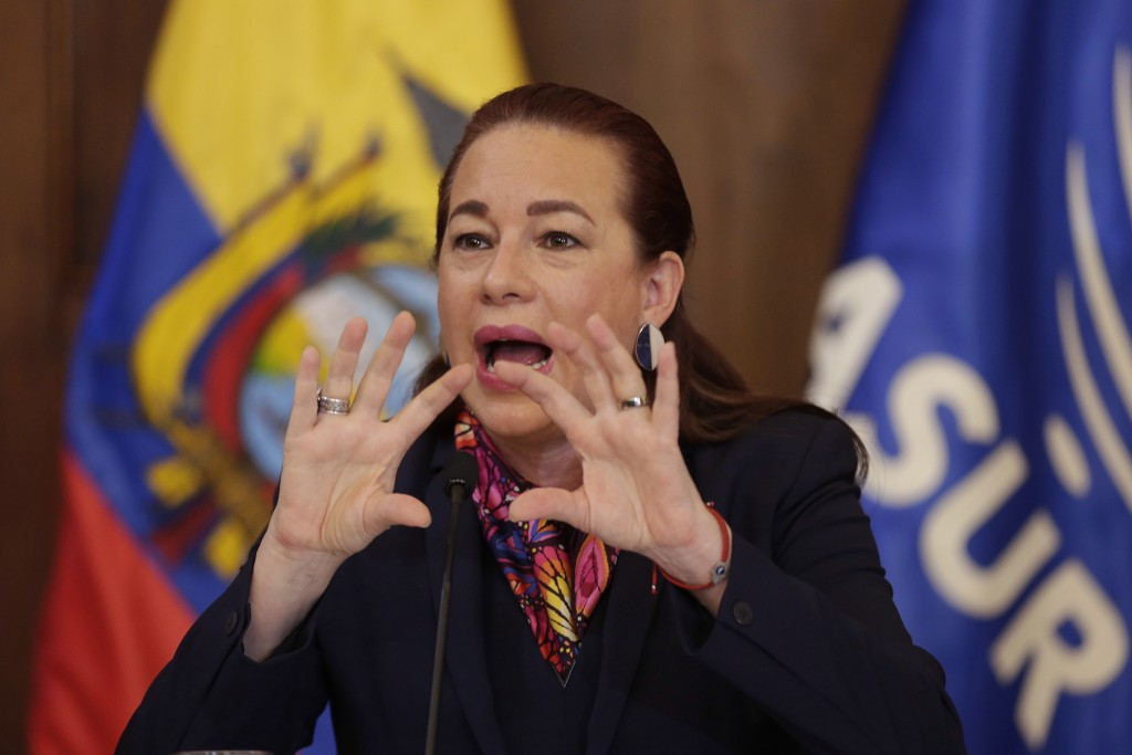 Ecuador's Foreign Minister Maria Fernanda Espinosa gives a press conference in Quito, Ecuador, Thursday, Jan. 11, 2018. Ecuador has granted citizenshi