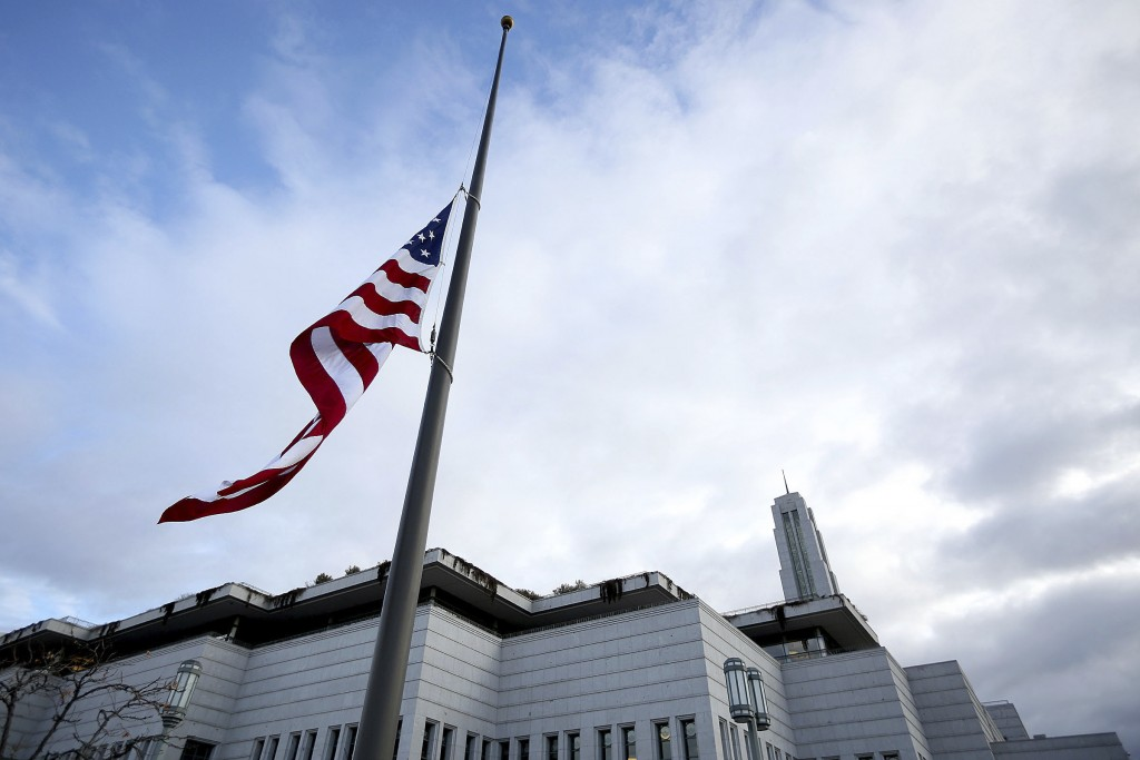 The U.S. flag flies at half-staff during a public viewing of Thomas S. Monson, President of The Church of Jesus Christ of Latter-day Saints  at the LD