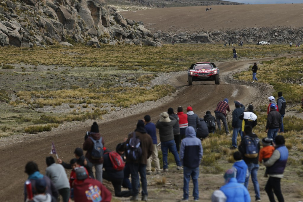 Driver Cyril Despres, of France, and co-driver David Castera, of France, race their Peugeot during the 6th stage of the 2018 Dakar Rally between Arequ