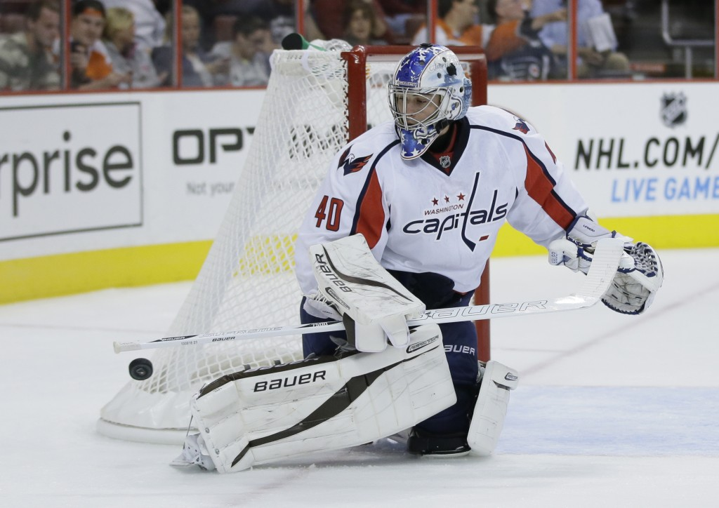 FILE - In this Sept. 16, 2013, file photo, Washington Capitals' David Leggio is shown during a preseason NHL hockey game against the Philadelphia Flye