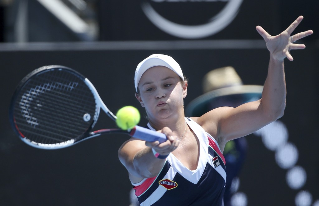 Ash Barty of Australia hits a forehand to compatriot Daria Gavrilova during their women's semifinal singles match at the Sydney International tennis t