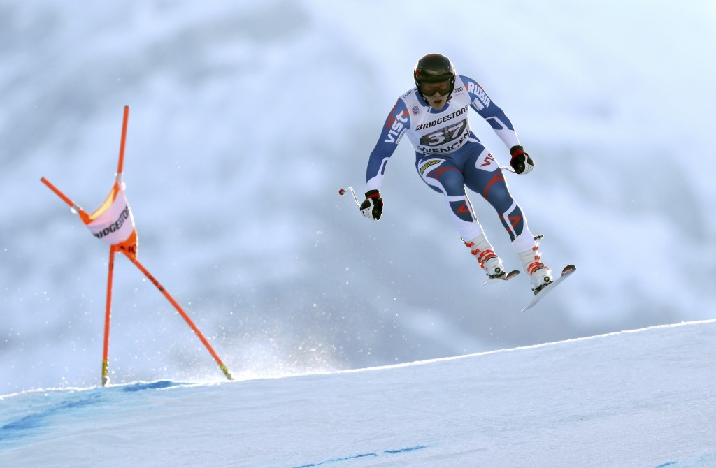 Russia's Pavel Trikhichev competes during the first portion of an alpine ski, men's World Cup combined race, in Wengen, Switzerland, Friday, Jan.12, 2