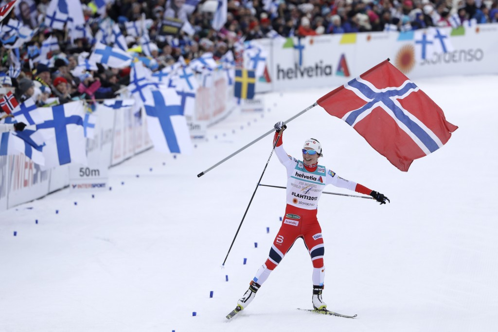 FILE - In this March 2, 2017, file photo, Norway's Marit Bjoergen arrives at the finish area to win the women's cross country 4x5 km relay classic fre
