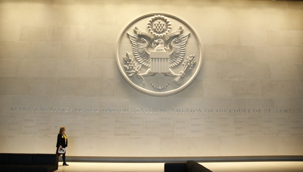 FILE - In this Wednesday, Dec. 13, 2017 file photo, a general view of the main lobby entrance with a large Department of State embossed seal, along wi