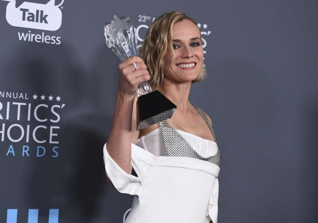 """Diane Kruger, winner of the award for best foreign language film for """"In The Fade"""", poses in the press room at the 23rd annual Critics' Choice Awards"""