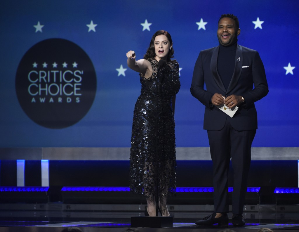 Rachel Bloom and Anthony Anderson present the award for best actress in a movie made for TV or limited series at the 23rd annual Critics' Choice Award