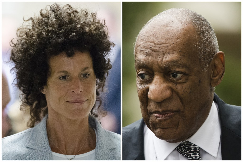 FILE – This combination of file photos shows Andrea Constand, left, walking to the courtroom during Bill Cosby's sexual assault trial June 6, 2017, at