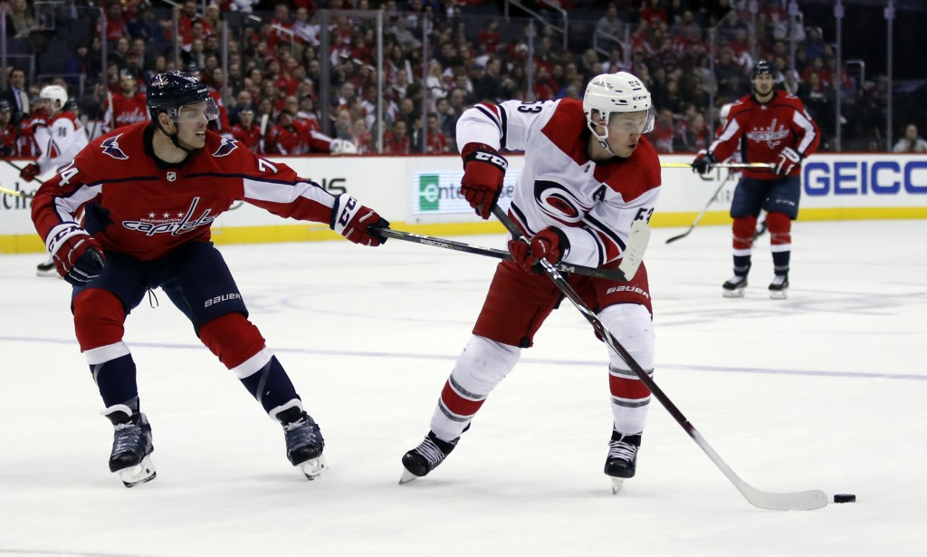 Washington Capitals defenseman John Carlson (74) defends against Carolina Hurricanes left wing Jeff Skinner (53) in the second period of an NHL hockey