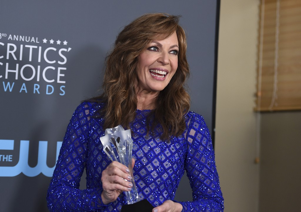 """Allison Janney, winner of the award for best supporting actress - film for """"I, Tonya"""", poses in the press room at the 23rd annual Critics' Choice Awar"""