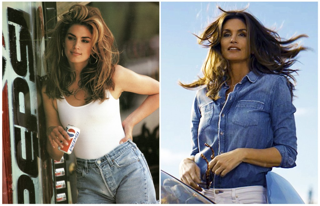 This combination of photos released by Pepsi shows actress-model Cindy Crawford in a scene from her 1992 iconic Super Bowl Pepsi commercial, left, and