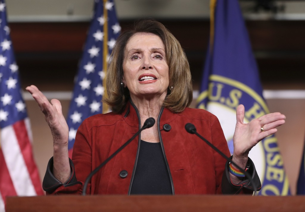 House Minority Leader Nancy Pelois of Calif., gestures as she speaks during a news conference, Thursday, Jan. 11, 2018, on Capitol Hill in Washington.