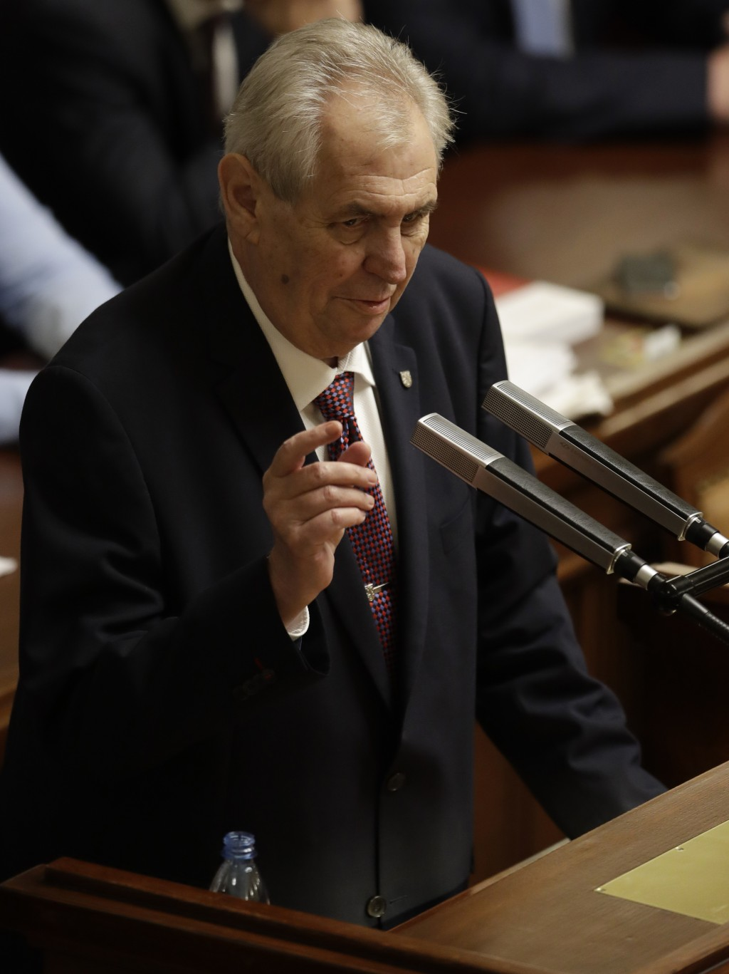 FILE- In this file picture taken on Wednesday, Jan. 10, 2018, Czech Republic's President Milos Zeman, makes a speech during a Parliament session in Pr