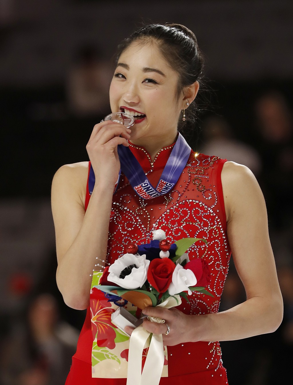 FILE - In this Jan. 5, 2018, file photo, Mirai Nagasu poses after finishing second in the women's free skate event at the U.S. Figure Skating Champion