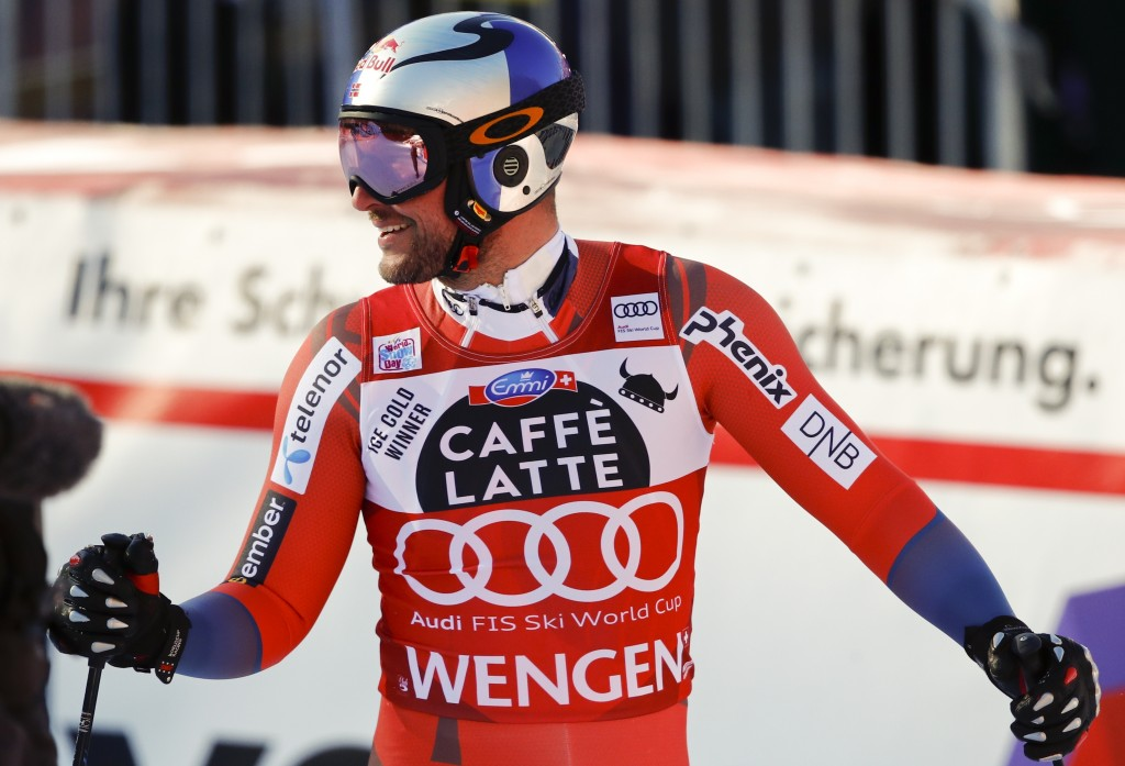 Norway's Asked Lund Svindal gets to the finish area after completing an alpine ski, men's World Cup downhill in Wengen, Switzerland, Saturday, Jan. 13
