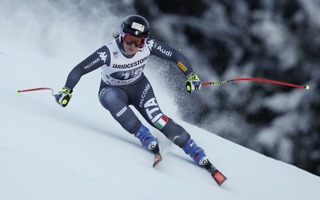FLE - In this Italy's Saturday, Jan. 21, 2017 file photo, Elena Fanchini speeds down the course during an alpine ski, women's World Cup downhill, in G