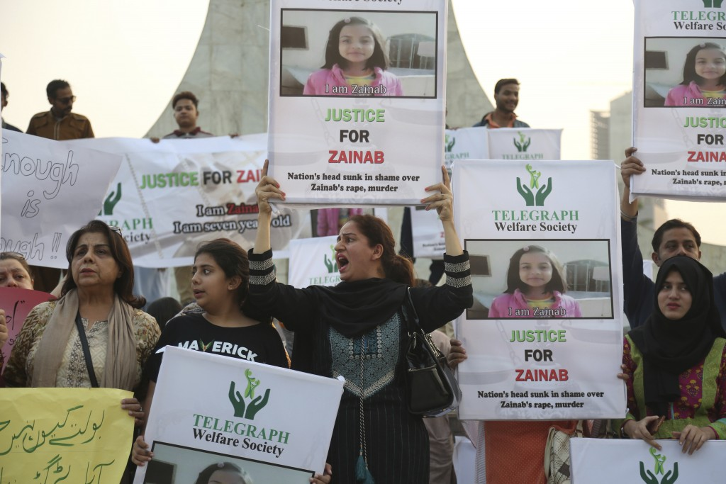 Activists of Pakistan civil society protest to condemn the rape and killing of Zainab Ansari, an 8-year-old girl, in Karachi, Pakistan, Friday, Jan. 1