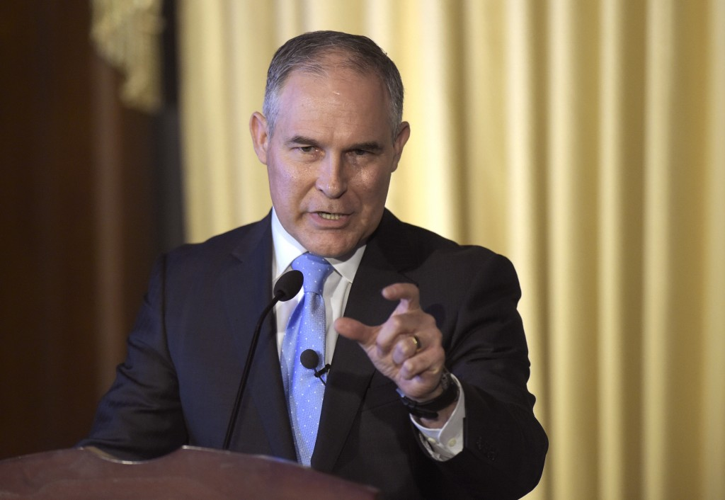FILE - In this Feb. 21, 2017, file photo, Environmental Protection Agency (EPA) Administrator Scott Pruitt speaks to employees of the EPA in Washingto
