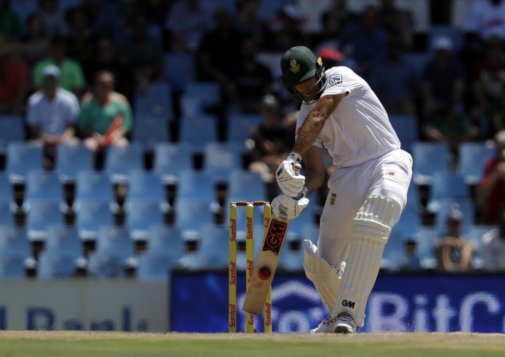South Africa's batsman Aiden Markram, plays a shot during the first day of the second cricket test match between South Africa and India at Centurion P