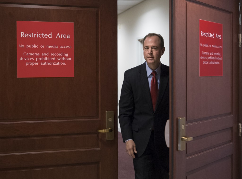 FILE - In this July 11, 2017, file photo, Rep. Adam Schiff, D-Calif., the ranking member of the House Intelligence Committee, arrives to speak to repo