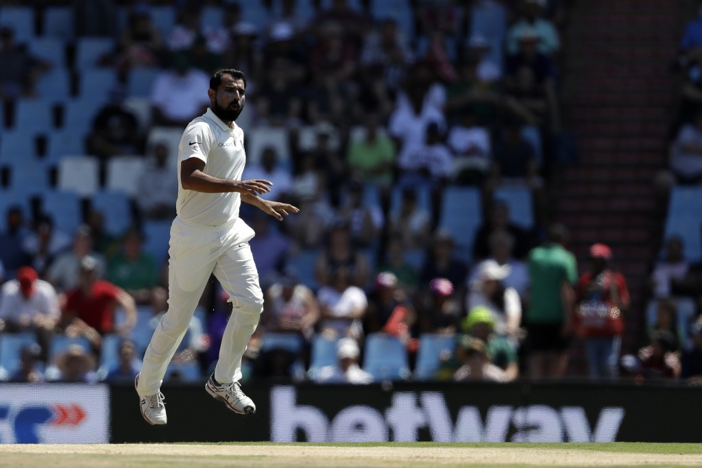 India's bowler Mohammed Shami, watches his delivery against South Africa's batsman Aiden Markram, during the first day of the second cricket test matc