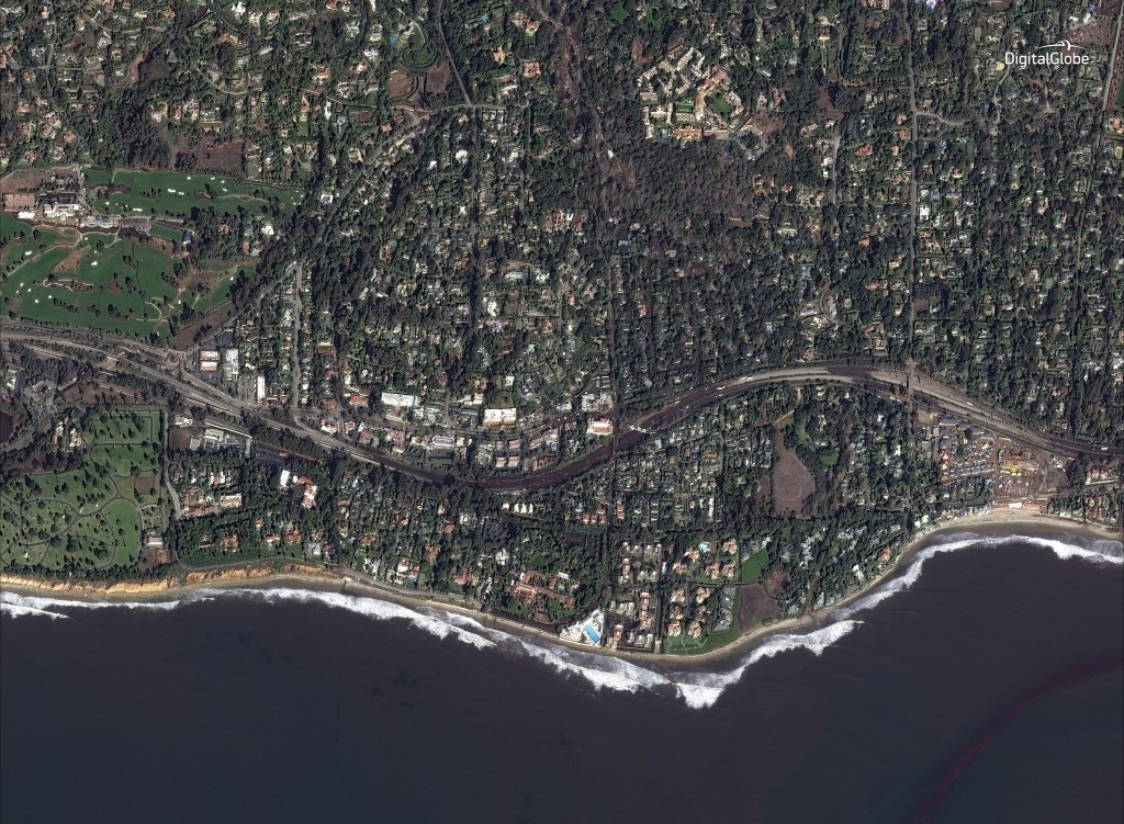 This Jan. 10, 2018 satellite image released by DigitalGlobe News Bureau shows Highway 101 after storms caused mudslides and flooding in Montecito, Cal