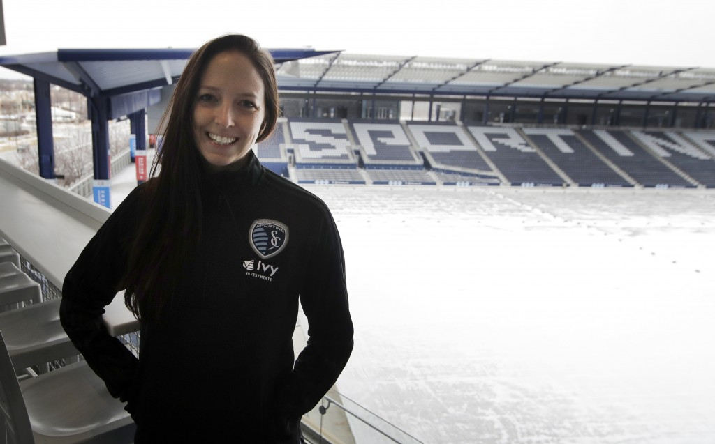 In this Thursday, Jan. 11, 2018 photo, Meghan Cameron, Sporting Kansas City's assistant director of player personnel, poses for a photograph at Childr