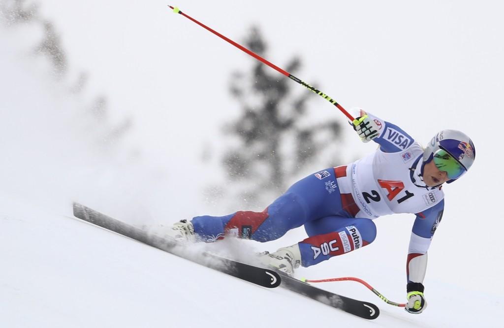 United States' Lindsey Vonn speeds down the course during an alpine ski, women's World Cup super-G, in Bad Kleinkirchheim, Austria, Saturday, Jan. 13,