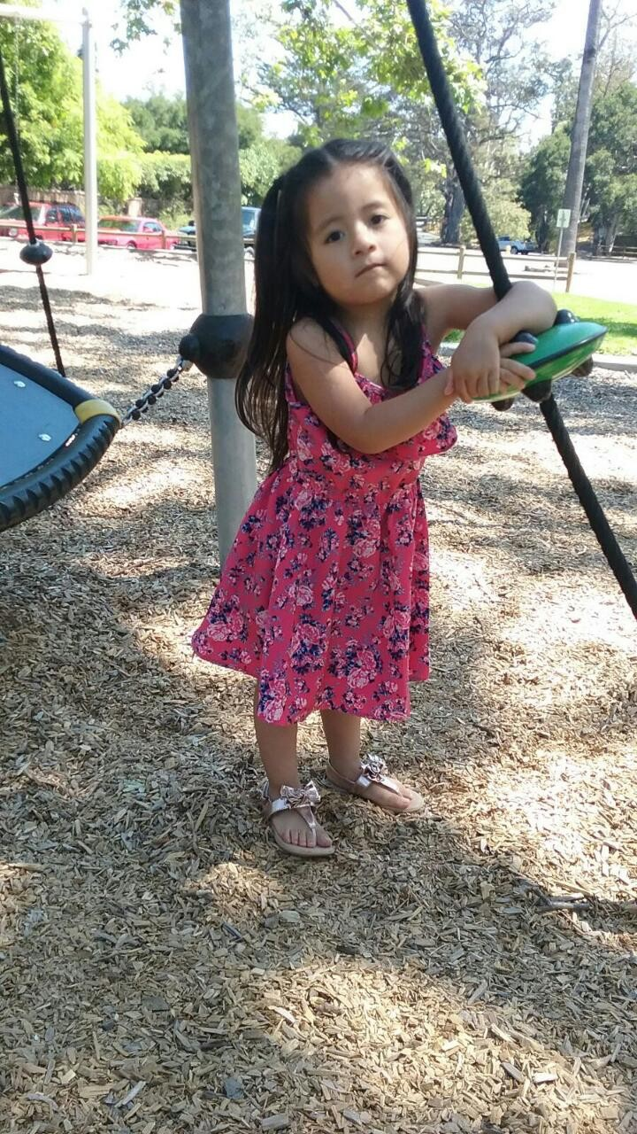 CORRECTS NAME TO KAELLY RAMOS BENITEZ- This June 2017 photo provided by Jennifer Ramos Tapia shows, Kaelly Benitez 3, outside her family's home in Mon