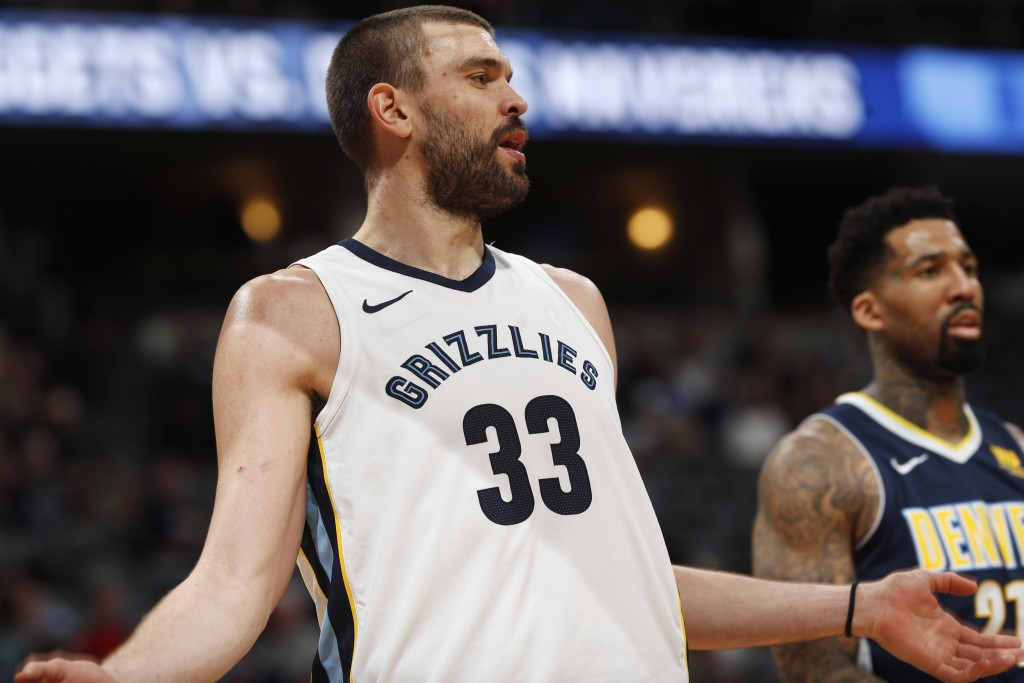 Memphis Grizzlies center Marc Gasol, of Spain, argues a call with a referee while facing the Denver Nuggets in the second half of an NBA basketball ga